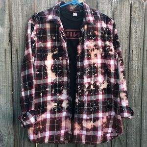 Upcycled distressed bleached flannel size large